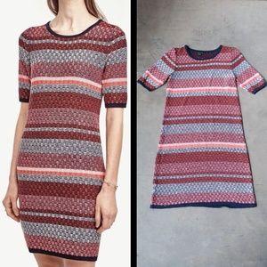 Ann Taylor Red Striped Sweater Dress medium